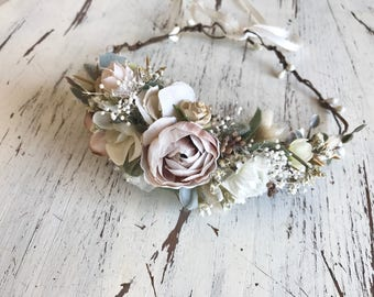 Flower crown- neutral flower halo- bridal flower crown- Well dressed wolf- baby flower crown- Flower Girl crown- wedding headpiece
