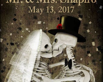 Skulls wedding poster,made to order,custom name and date,Wedding gift ideas,skulls art,skeletons,gothic,Custom Design,Skulls poster