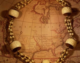 Necklace Vintage Bone Hand Carved Large Statement Necklace Ethnic Tribal Huge Carved Rounds