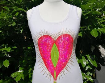 Love - Unique Hand Painted Art Woman Tshirt in ONLY SINGLE COPY - 100% cotton Size 12 / 40 *** Be Yourself Wear Yourself ****