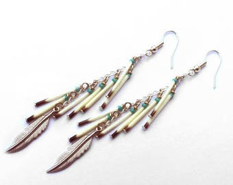 Porcupine Quill Tassel Duster Earrings - Authentic Native American