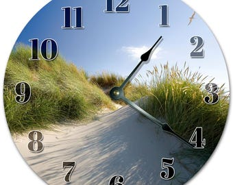 """10.5"""" GRASSY SAND MOUNTAINS Clock - Living Room Clock - Large 10.5"""" Wall Clock - Home Décor Clock - 5142"""