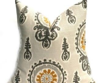 15% Off Sale Decorative Pillow, Gray Yellow Pillow, Mustard Yellow Pillow, Throw pillow, Bohemian Pillow, Suzani pillow, Damask,  Burlap pil