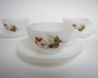 Arcopal cups and saucers,vintage cups and saucers, Arcopal France, floral cups and saucers, tea party,