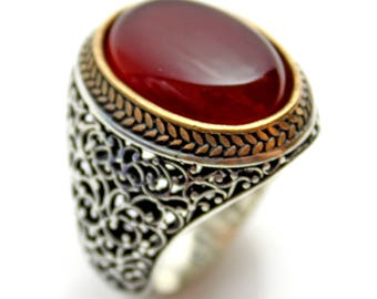 925 Sterling Silver Genuine Agate/Aqeeq Men Ring Express Delivery