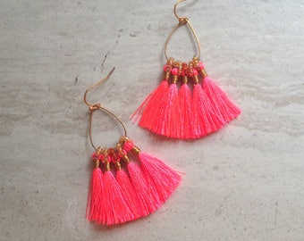 Tassel Teardrop Hoop Earrings Must Have Tassel Earrings Statement Tassle Earrings Neon Pink Tassel Earrings