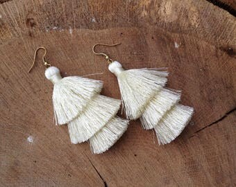 Chiffon Silk Tassel Earrings Layered Cream Tassle Earrings Tassel Drop Earrings Statement Earrings Summer Jewelry Tassel Fringe Earrings