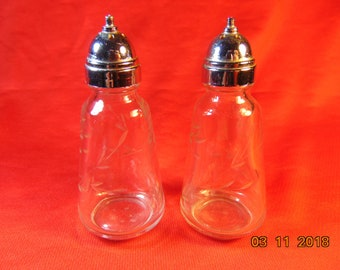 One (1), Pair of Etched Glass, Salt & Pepper Shakers, with Chrome Tops