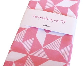 Geometric Pink Tea/Dish towel