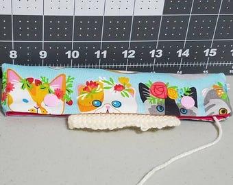 cat DPN holder, knitting needle case, DPN case, double pointed needle holder, knitting needle cozy, kitty DPN holder