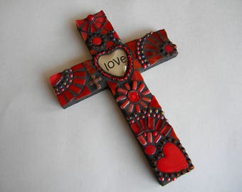 Red Mosaic Cross, love Cross, Red Hearts, Valentine's Day, Decorative Cross, Gift for Lover