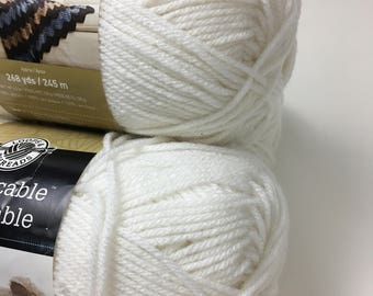 LOOPS & THREADS Yarn Impeccable Michael's Brand White Blanco Acrylic Medium Weight 4-Ply Knit Crochet