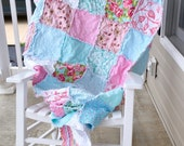 Aqua and Pink Quilt- Ready to ship quilt,  Rag quilt, Sunshine Quilt, Twin Quilt, Reversible Quilt, Pink and Blue Rag Quilt