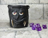 Dice Bag Marble Bag Fairy Pouch With Monster Face RPG LARP Drawstring Bag Rune Bag Magic The Gathering Gamer Gift Black Leather 824