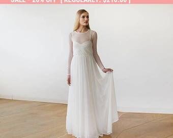 Ivory Chiffon Round Neckline Bridal Dress With Long Sleeves 1102