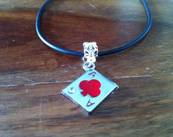 Necklace Poker card ACE of clover