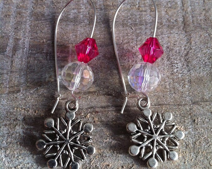 Snowflakes earrings large silvery fuchsia 3 clasps
