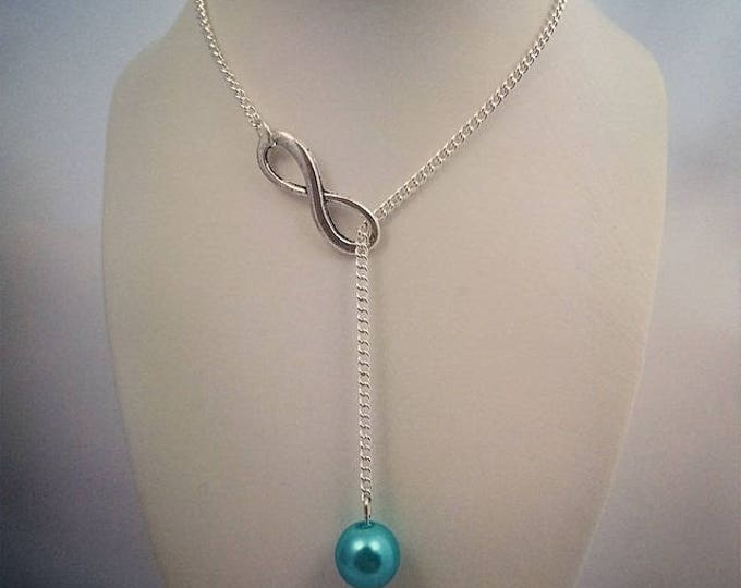 Turquoise Pearl Necklace and infinity sign