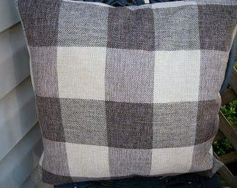 Brown Buffalo Check Pillow Cover, 18 x 18  Pillow Cover, French Country Farmhouse Country Plaid Pillow Cover Zipper Closure