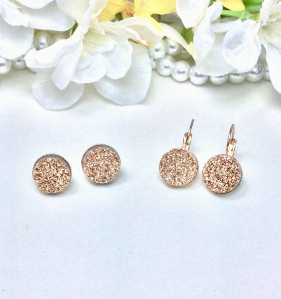 Swarovski 12MM Natural Golden Druzy Drop Or Stud Earrings Set in Gold Overlay Settings - Spectacular ! - FREE SHIPPING