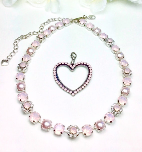 "Swarovski Crystal 8.5mm Necklace  - One Of A Kind  - "" Pale Pink Petals ""  - Feminine Flowers - FREE SHIPPING"