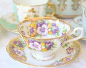 TEA CUP, Vintage, English Bone China, Wide Mouth, Avon Shape Tea Cup & Saucer by Royal Albert, Pansies Pattern, Replacement China