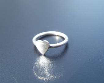 silver heart ring chunky heart