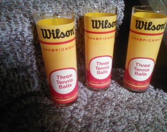 Vintage Set of Three Wilson Tennis Ball Glasses - Wilson Tennis Ball Glasses - Three Tennis Ball Glasses