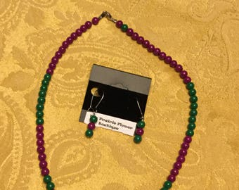 Purple and green beaded necklace and earrings
