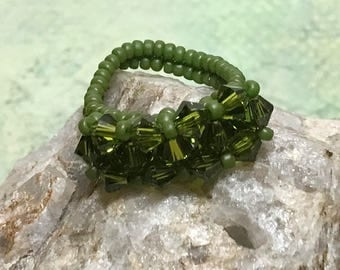 Seed Beaded Ring Crystal Beaded Ring Beaded Ring Green Crystal Ring Beadwoven Ring Size 7 Beaded Ring Peyote Ring Woven Ring Seed Bead Ring
