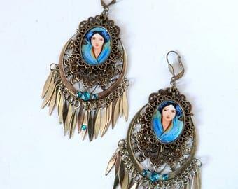 Gispy bohemian earrings in bleu and bronze