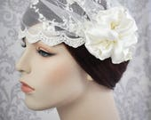 Reserved - Bridal Cap - Veil Juliet Cap ivory lace with silk charmeuse flowers and vintage stamens - ivory or white - 101C