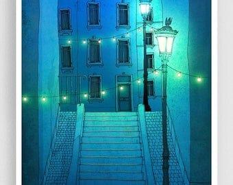 30% OFF SALE: Night walking (blue version) - Paris illustration Montmartre Giclee Art print Poster Home decor City print Blue Turquoise Pari