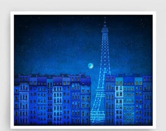 30% OFF SALE: The lights of the Eiffel tower (landscape)- Paris illustration Art illustration Art Poster Wall art Paris Home decor art Blue