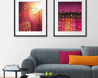 30% OFF SALE: Any TWO Prints - Save 20 Percent,Set of two Illustrations,Fine art illustration Giclee Print Art Poster Home decor Large wall