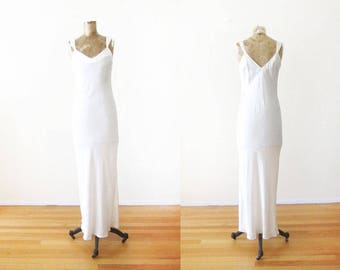 Vintage Silk Slip - Ivory White Slip Dress - Full Length Slip - Floor Length Slip - Maxi Slip Dress - Bias Cut Dress - Vintage Lingerie S