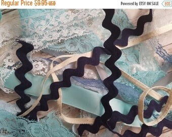 ON SALE 25% OFF 10 Yds Beautiful Vintage Winter Blues Trim Lot | Ribbons, Trims, Laces | Assorted Yardage | Blue, Silver, Gray, White