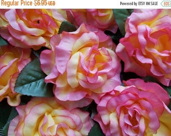 ON SALE 25% OFF Beautiful Vintage Pink and Yellow Roses | Nos | Millinery Flowers