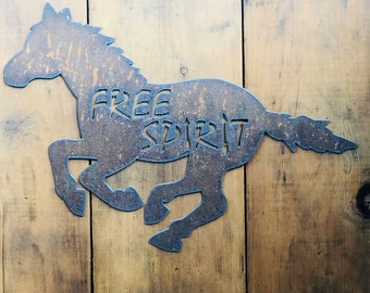 """Free Spirit - 18"""" Rusty Metal Horse -  For Art, Sign, Decor - Make your own DIY Gift!"""