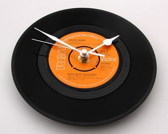 """David Bowie, """" Boys Keep Swinging """" , Vinyl Record CLOCK, a recycled 7"""" single, wall clock, black and orange, gift for men, women, glam rock"""