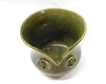 Pottery Owl Decor Ceramic Utensil Holder Pottery Owl Vase Ceramic Utensil Holder Owl Pottery Utensil Holder Owl Pottery in Green