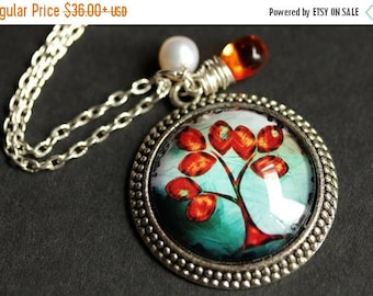 SUMMER SALE Autumn Tree Necklace. Orange Tree Pendant with Fresh Water Pearl and Glass Teardrop. Orange Necklace. Teal Necklace. Handmade Ne