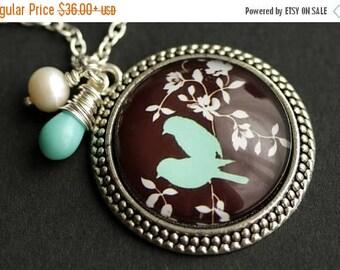 BACK to SCHOOL SALE Aqua Bird Necklace. Love Birds Pendant with Fresh Water Pearl and Pale Aqua Teardrop. Aqua Necklace. Bronze Necklace. Ha