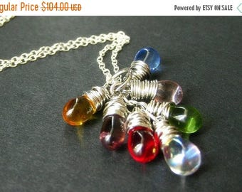 VALENTINE SALE STERLING Silver Teardrop Cluster Necklace with Wire Wrapped Clear Charms. Handmade Jewelry.