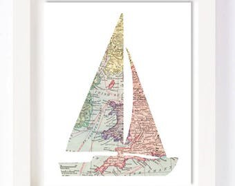 Printable - Sail Boat Vintage World Map Kid Playroom Travel Nursery Wall Art Print oh the places you'll go instant download