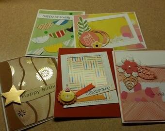 Set of 5  Handmade Birthday  Cards