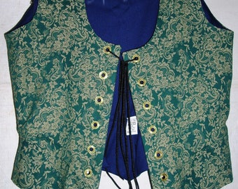 Brocade Renaissance Bodice: Green Floral Vine Pattern-2 Sizes