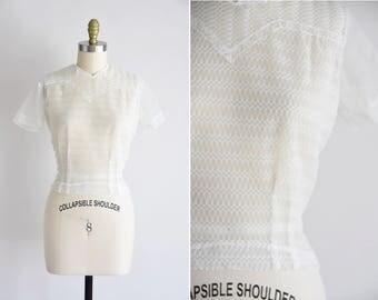 1950s No Secrets blouse/ vintage 50s sheer top/ nylon chiffon crop top