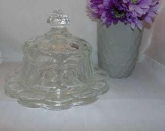 Vintage Cherry Cable Clear Covered Domed Cheese Butter Dish
