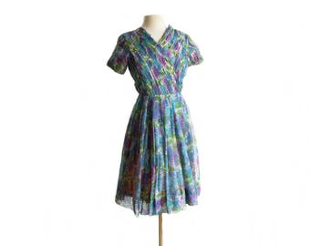 Vintage 60s Floral Chiffon Party Dress/ Micro Pleats/ Full Skirt Garden  Party Dress/